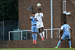 12 September 2014: Pitt's Kevin Angulo (CAN) (17) and North Carolina's Colton Storm (6). The University of North Carolina Tar Heels hosted the Pittsburgh University Panthers at Fetzer Field in Chapel Hill, NC in a 2014 NCAA Division I Men's Soccer match. North Carolina won the game 3-0.