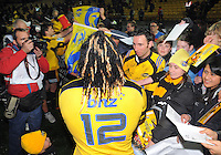 Fans crowd around Ma'a Nonu after his last match for the Hurricanes. Super 15 rugby match - Crusaders v Hurricanes at Westpac Stadium, Wellington, New Zealand on Saturday, 18 June 2011. Photo: Dave Lintott / lintottphoto.co.nz