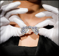 BNPS.co.uk (01202 558833)<br /> Pic: Woolley&amp;Wallis/BNPS<br /> <br /> A stunning diamond and sapphire brooch owned by Princess Margaret for most of her life is expected to sell for &pound;18,000.<br /> <br /> The beautiful piece of jewellery was owned by the Queen's sister from at least 1948 up until her death in 2002.<br /> <br /> The early Art Deco pav&eacute;-set diamond bow was made in about 1920 and is about 2 inches wide.<br /> <br /> Although it is an exquisite piece, it is the fact it belonged to the princess that quadruples the value.<br /> <br /> It will be sold by Woolley &amp; Wallis in Salisbury, Wiltshire, on April 28.