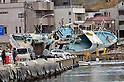 April 3rd, 2011, Kesennuma, Japan - A fishing boat remains on the wharf after being washed away in a tidal wave in the port of Kensennuma City, MIyagi Prefecture, on April 3, 2011, three weeks after this major northeastern Japanese fishing port was devastated by a tsunami that followed a magnitude 9.0 earthquake.  (Natsuki Sakai/AFLO) [3615] -mis-...