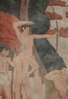 Detail of a fresco entitled Sports, showing dancers, horse riders and archers in front of the Parthenon, painted in Art Deco style in 1929-30 by Robert La Montagne Saint-Hubert, 1887-1950, and 2 assistants, Ethel Wallace and James Newell, 1900-1985, 1 of 6 frescoes which were discovered during works in 1994 and restored in 2011, in the Grand Salon or Great Hall of the Fondation des Etats Unis or American Foundation, designed by Pierre Leprince-Ringuet, 1874-1954, and inaugurated in 1930, in the Cite Internationale Universitaire de Paris, in the 14th arrondissement of Paris, France. The fresco praises the sporting culture of American University campuses and the ideal of an ancient Greek city. The Grand Salon is listed as a historic monument. The CIUP or Cite U was founded in 1925 after the First World War by Andre Honnorat and Emile Deutsch de la Meurthe to create a place of cooperation and peace amongst students and researchers from around the world. It consists of 5,800 rooms in 40 residences, accepting another 12,000 student residents each year. Picture by Manuel Cohen. Further clearances may be requested.
