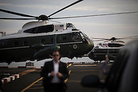 Marine One, with United States President Barack Obama aboard, arrives in Manhattan ahead of the General Assembly at the United Nations (UN) headquarters in New York, New York on Sunday, September 18, 2016. Obama will address the 71st UN General Assembly Tuesday in his last major appearance at the annual gathering of world leaders.<br /> Credit: John Taggart / Pool via CNP / MediaPunch