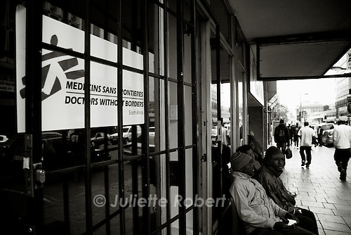 Outside the Doctors without Border clinic, near Central Church in Johannesburg.<br />