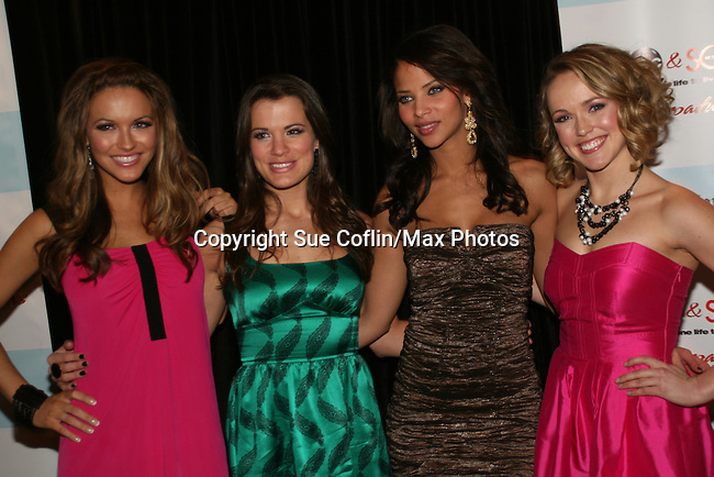 All My Children's Chrishell Stause - Melissa Claire Egan - Denise Vasi - Brianne Moncrief attend the after party of ABC and SOAPnet's Salutes to Broadway Cares/Equity Fights Aids on March 9, 2009 at the New York Marriott Marquis, New York, NY.  (Photo by Sue Coflin/Max Photos)