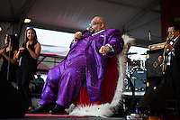 Rhythm and blues, gospel, soul and blues musician Solomon Burke performing on the Congo Square stage at the New Orleans Jazz and Heritage Festival at the New Orleans Fair Grounds Race Course in New Orleans, Louisiana, USA, 30 April 2009.