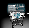 "A stylized 3D rendering of a ""smart"" shopping cart depicting a list of items and a store map."