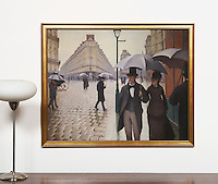"Caillebotte: Rainy Day, Paris Street, Digital Print, , Framed Dims. 31.5"" x 39"" x 1"""