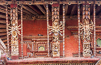 Nepal, Changu Narayan Temple.  Roof Struts of the temple before April 2015 earthquake.  The temple was heavily damaged in the earthquake, but will be repaired.