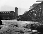 The Bank Street trestle in Waterbury during the August 1955 flood.