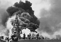 USS BUNKER HILL hit by two Kamikazes in 30 seconds on 11 May 1945 off Kyushu.  Dead - 372.  Wounded - 264.  (Navy)<br /> NARA FILE #:  080-G-323712<br /> WAR &amp; CONFLICT BOOK #:  980