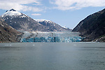 Alaska, Cruising the Southeast wilderness waterways on the Spirit of Discovery.  Endicott Arm and Dawes Glacier, scenery, glacier and cruise ship..Photo #: alaska10410 .Photo copyright Lee Foster, 510/549-2202, lee@fostertravel.com, www.fostertravel.com.
