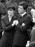 Pix: Copyright Anglia Press Agency/Archived via SWpix.com. The Bamber Killings. August 1985. Murders of Neville and June Bamber, daughter Sheila Caffell and her twin boys. Jeremy Bamber convicted of killings serving life...copyright photograph>>Anglia Press Agency>>07811 267 706>>..Jeremy Bamber is comforted by his girlfriend Julie Mugford at funeral. no date..ref 0006 neg 29....