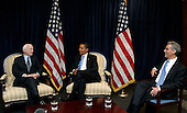 Chicago, IL - November 17, 2008 -- United States President-elect  Barack Obama (center), meets with former Republican presidential candidate United States Senator John McCain (Republican of Arizona), left, and Obama's Chief of Staff Rohm Emanuel, right, at Obama's transition office Monday, November 17, 2008, in Chicago, Illinois..Credit: Frank Polich - Pool via CNP