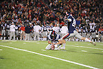 Ole Miss kicker Bryson Rose misses a field goal, his first miss after making 17 straight, vs. Louisiana Tech in Oxford, Miss. on Saturday, November 12, 2011.