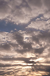 Stratocumulus clouds at sunset with crepuscular rays