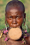 Mursi woman with lip disk, Lower Omo River, Ethiopia