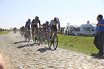 The peloton including Edvald Boasson Hagen (NOR) Team Dimension Data on pave sector 17 Hornaing a Windignies during the 115th edition of the Paris-Roubaix 2017 race running 257km Compiegne to Roubaix, France. 9th April 2017.<br /> Picture: Eoin Clarke | Cyclefile<br /> <br /> <br /> All photos usage must carry mandatory copyright credit (&copy; Cyclefile | Eoin Clarke)