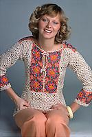 Model wears crocheted fashion, 1975. Photo by John G. Zimmerman.