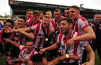 Lincoln City players lift the trophy<br /> <br /> Photographer Andrew Vaughan/CameraSport<br /> <br /> Vanarama National League - Lincoln City v Macclesfield Town - Saturday 22nd April 2017 - Sincil Bank - Lincoln<br /> <br /> World Copyright &copy; 2017 CameraSport. All rights reserved. 43 Linden Ave. Countesthorpe. Leicester. England. LE8 5PG - Tel: +44 (0) 116 277 4147 - admin@camerasport.com - www.camerasport.com