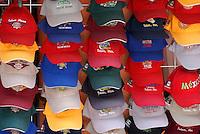 Colorful tourist baseball caps for sale in Tulum, Riviera Maya, Mexico