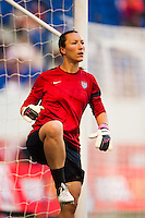 United States (USA) goalkeeper Jill Loyden (21) during warmups. The women's national team of the United States defeated the Korea Republic 5-0 during an international friendly at Red Bull Arena in Harrison, NJ, on June 20, 2013.