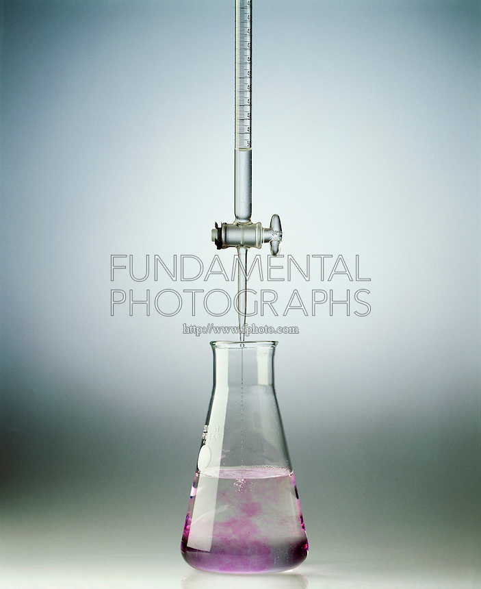 TITRATION OF AN ACID WITH A BASE- PHENOLPHTHALEIN<br /> (2 of 3)<br /> Adding Sodium Hydroxide To Acidic Solution<br /> The basic solution of known concentration is added to the acid solution until the color change indicates that the equivalence point has been reached.
