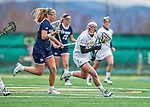 25 April 2015: University of Vermont Catamount Midfielder Danielle Seifert, a Junior from Fallston, MD, in action against the University of New Hampshire Wildcats at Virtue Field in Burlington, Vermont. The Lady Catamounts defeated the Lady Wildcats 12-10 in the final game of the season, advancing to the America East playoffs. Mandatory Credit: Ed Wolfstein Photo *** RAW (NEF) Image File Available ***