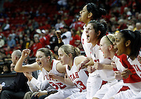 The University of Utah bench players react to their team winning as the University of Utah women's basketball team defeated New Mexico in overtime to advance in the Mountain West Conference basketball Championship Tournament at the Thomas & Mack Center in Las Vegas, Nevada Wednesday, March 10, 2010.  August Miller, Deseret News .