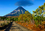The active Concepcion Volcano dominates the rural landscape on the Island of Ometepe, an island formed by two volcanoes<br />
