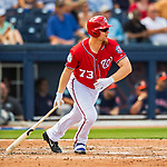 28 February 2017: Washington Nationals first baseman Adam Lind in Spring Training action during the inaugural game against the Houston Astros at the Ballpark of the Palm Beaches in West Palm Beach, Florida. The Nationals defeated the Astros 4-3 in Grapefruit League play. Mandatory Credit: Ed Wolfstein Photo *** RAW (NEF) Image File Available ***
