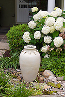 Hydrangea, ornamental urn, grasses, stones rocks, entry, front porch, house