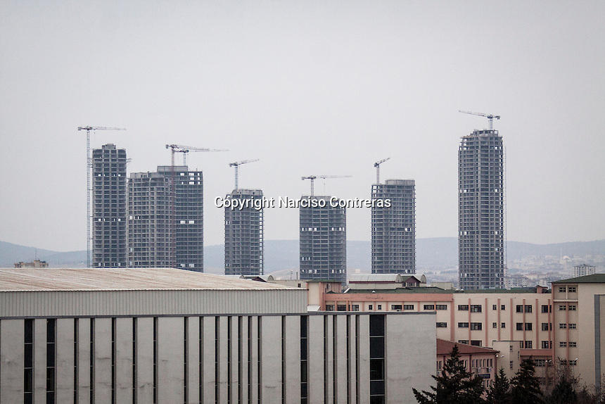 February 13, 2016: Skyscrapers under construction are seen from an upper view in Gaziantep. The construction industry in Turkey has increased its number by the influx of Syrian refugees feeing the war-torn country blowing up in this way the rise of the business as well.