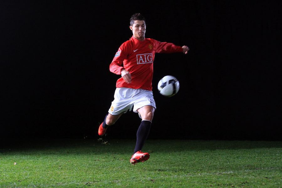 Christiano Ronaldo kicks a football.