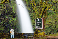 Woman looking at Horsetail Falls, Columbia River Gorge National Scenic Area, Oregon, USA