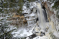 The wintery scene at Miners Castle, Pictured Rocks National Lakeshore, Munising, MI