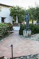 Statue of Father Junipero Serra in the courtyard at Mission San Jose in Fremont, California.