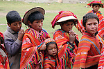 South America, Peru, Willoq. Peruvian boys of Willoq Community in traditional dress.