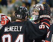 Tyler McNeely (Northeastern - 94), Clay Witt (Northeastern - 31) - The Boston College Eagles defeated the Northeastern University Huskies 5-4 in their Hockey East Semi-Final on Friday, March 18, 2011, at TD Garden in Boston, Massachusetts.