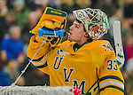 19 February 2016: University of Vermont Catamount Goaltender Packy Munson, a Freshman from Hugo, MN, hydrates during a break in the first period against the Boston College Eagles at Gutterson Fieldhouse in Burlington, Vermont. The Eagles defeated the Catamounts 3-1 in the first game of their weekend series. Mandatory Credit: Ed Wolfstein Photo *** RAW (NEF) Image File Available ***