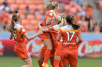 Houston, TX - The Houston Dash defeated the Chicago Red Stars 2-0 on Saturday April 15, 2017: Jannine Beckie, Kealia Ohai, Rachel Daly during a regular season National Women's Soccer League (NWSL) match at BBVA Compass Stadium.