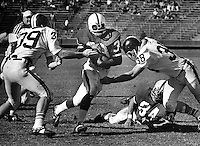 Stanford University's Jackie Brown on a 12 yd. gain against Jim Lilly #39 and Mark Copeland #38 of the Oregon State Beavers. Stanford's Bill Scott #84 on the ground. (1970 photo/Ron Riesterer)