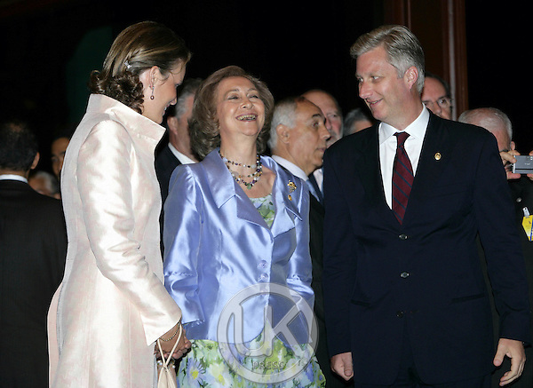 Crown Prince Philippe, Crown Princess Mathilde of Belgium and Queen Sofia of Spain attend the Royal Barge Procession at the Royal Navy Club during the celebrations to mark the 60th anniversary of Thai King Bhumibol Adulyadej's accession to the throne..
