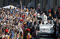Pope Francis during mass on the occasion of the Family Days at St Peter's square at the Vatican on October 27, 2013