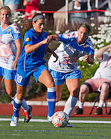 Boston Breakers defender Bianca D'Agostino (19) with Chicago Red Stars midfielder Jen Buczkowski (4) in pursuit.  The Boston Breakers beat the Chicago Red Stars 1-0 at Dilboy Stadium.