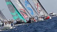 ITALY, Sardinia, Cagliari, AUDI MedCup, 22nd September 2010,  Region of Sardinia Trophy, TP52 fleet head for the top mark.