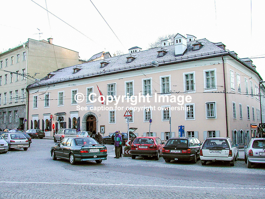 Mozart's residence in Salzburg, Austria. Composer. He lived in the house between 1773 and 1780. Ref: 2000121258..Copyright Image from Victor Patterson, 54 Dorchester Park, Belfast, UK, BT9 6RJ..Tel: +44 28 9066 1296.Mob: +44 7802 353836.Voicemail +44 20 8816 7153.Skype: victorpattersonbelfast.Email: victorpatterson@mac.com.Email: victorpatterson@ireland.com (back-up)..IMPORTANT: If you wish to use this image or any other of my images please go to www.victorpatterson.com and click on the Terms & Conditions. Then contact me by email or phone with the reference number(s) of the image(s) concerned.