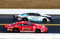 Mar 19, 2017; Gainesville , FL, USA; NHRA pro stock driver Drew Skillman (near) races alongside Tanner Gray during the Gatornationals at Gainesville Raceway. Mandatory Credit: Mark J. Rebilas-USA TODAY Sports