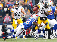 BUFFALO, NY - NOVEMBER 28:  Rashard Mendenhall #34 of the Pittsburgh Steelers runs with the ball through the Buffalo Bills defense during the game on November 28, 2010 at Ralph Wilson Stadium in Buffalo, New York.  (Photo by Jared Wickerham/Getty Images)