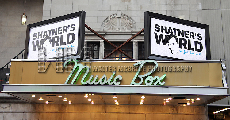 Music Box Theatre Marquee for 'Shatner's World: We Just Live In It' A two-hour show takes audiences on a voyage through William Shatner's life and career, from Shakespearean stage actor to internationally known icon and raconteur, known as much for his unique persona as for his expansive body of work on television and film..