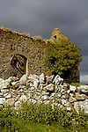 Europe, United Kingdom, Wales.  An unmarked ruin in the Welsh countryside region of Anglesey - North Wales.